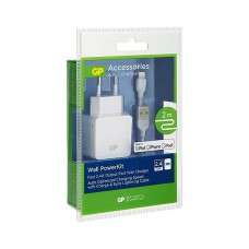 GP WA23 WALL CHARGER 1 X 2.4A - WITH 2M LIGHTNING CABLE